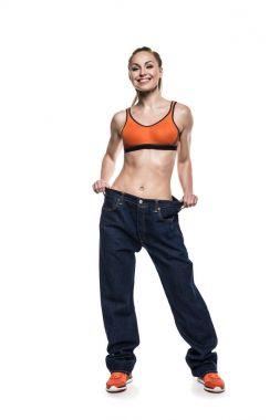 sportswoman wearing oversized jeans
