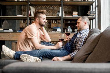 homosexual couple drinking wine on sofa