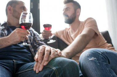 homosexual couple drinking wine during talk