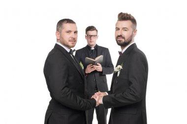 homosexual couple at wedding ceremony