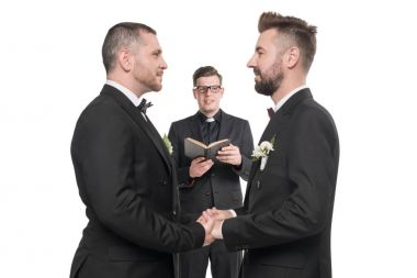 homosexual couple at wedding ceremony