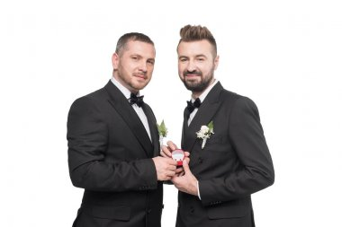 homosexual couple holding wedding rings