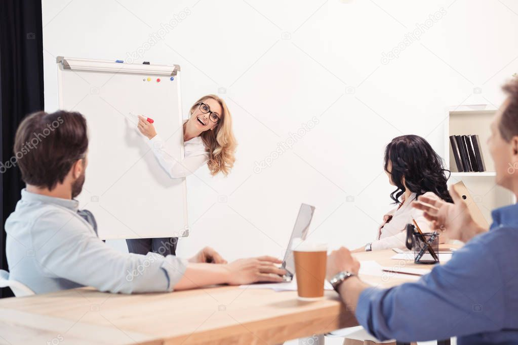 Business partners during presentation