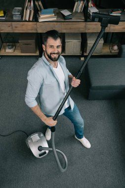 Man cleaning at home