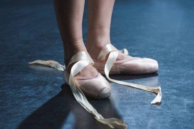 Cropped view of ballet dancer in pointe shoes in dark studio stock vector