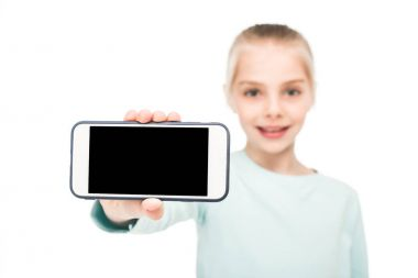 child holding smartphone
