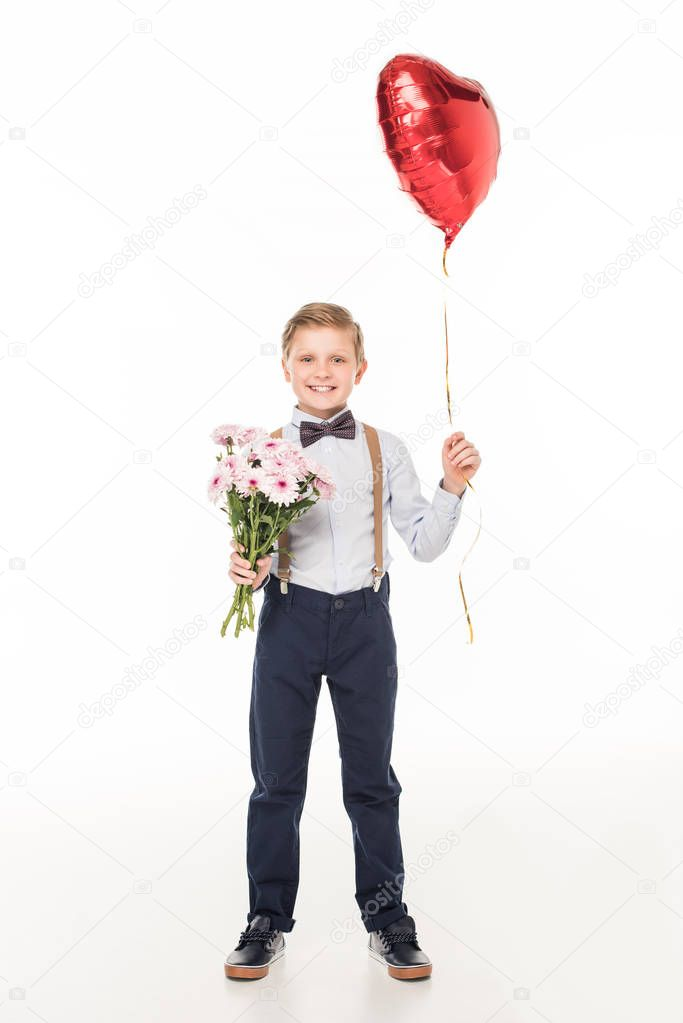 boy with flowers and balloon