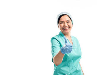 asian doctor showing thumb up