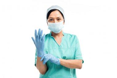 surgeon wearing medical gloves