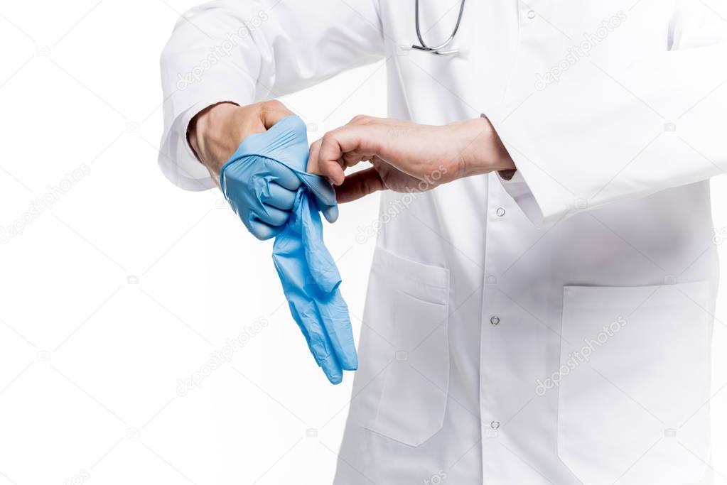 doctor wearing medical gloves