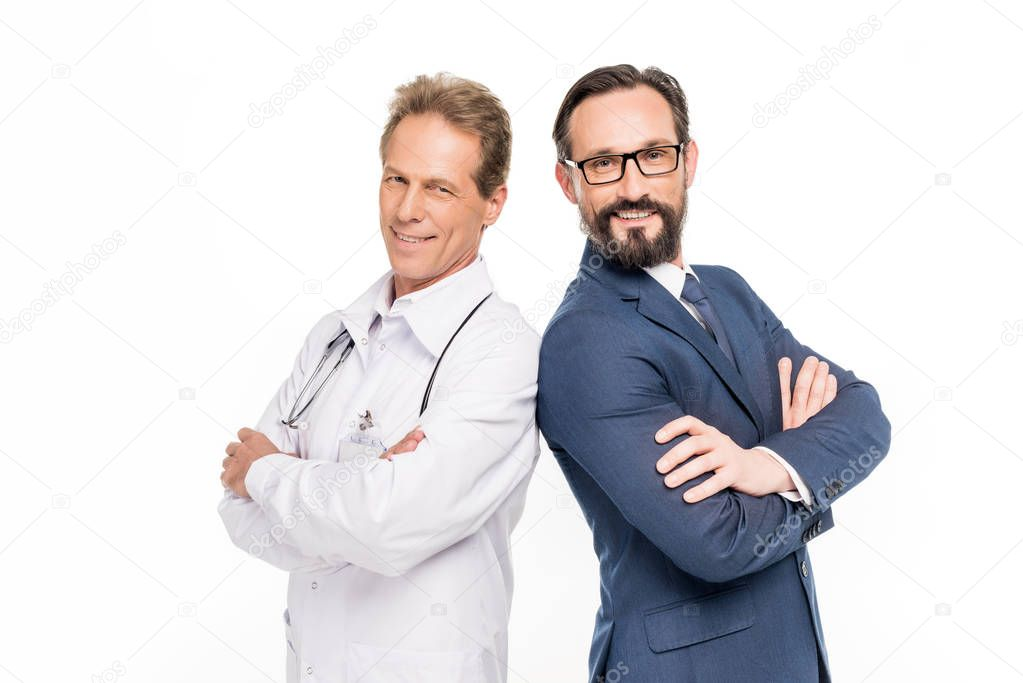 smiling businessman and doctor