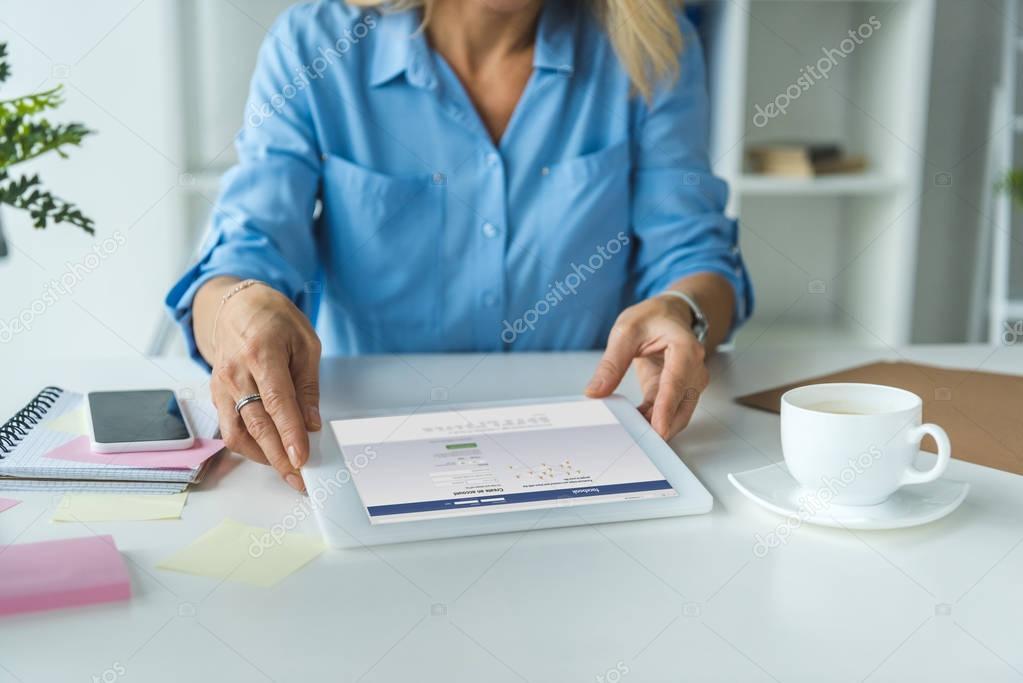 tablet with facebook website