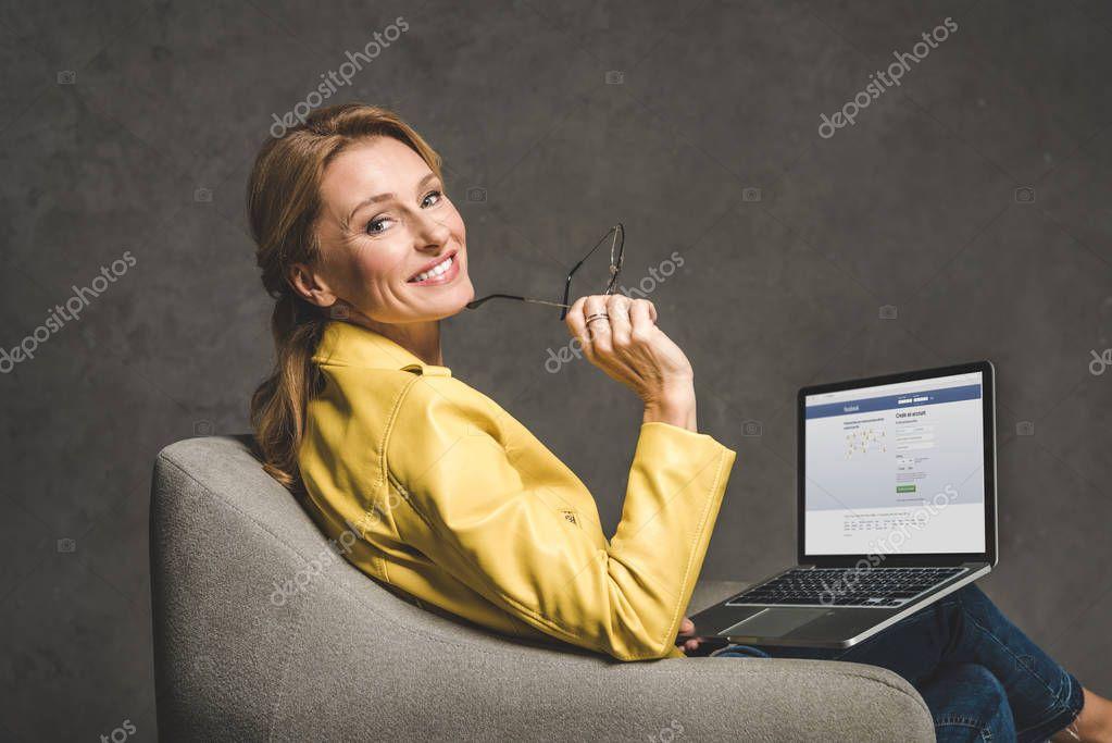 laptop with facebook website