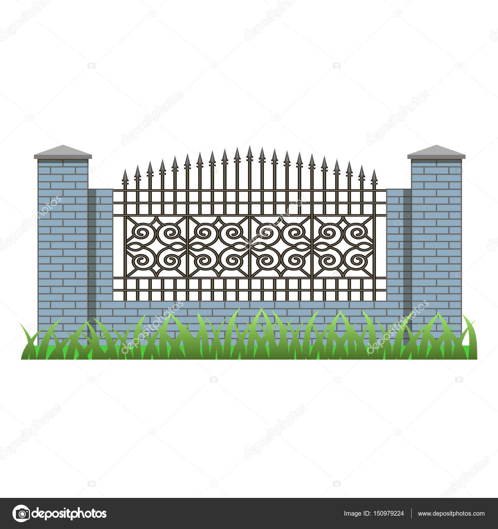 Ziegelmauer Mit Säulen Und Dekorative Gitter U2014 Stockvektor