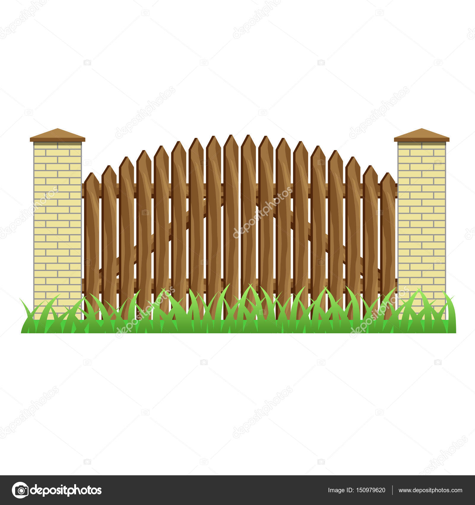 Mattoni Per Recinzione Giardino.Recinzione Con Pilastri In Mattoni E Cancello Di Legno
