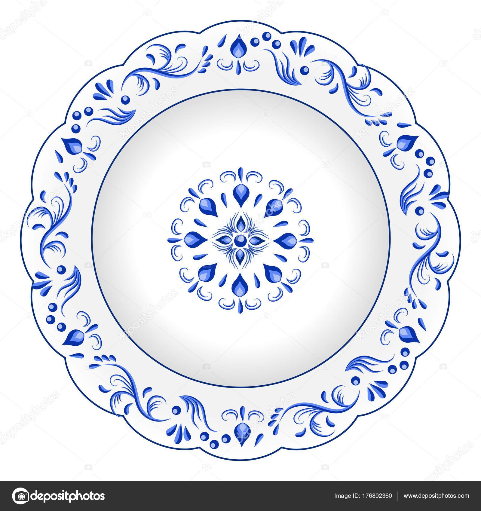 Dekoratif Porselen Tabak Mavi çiçek Süsleme Patt Ile Süslü Stok