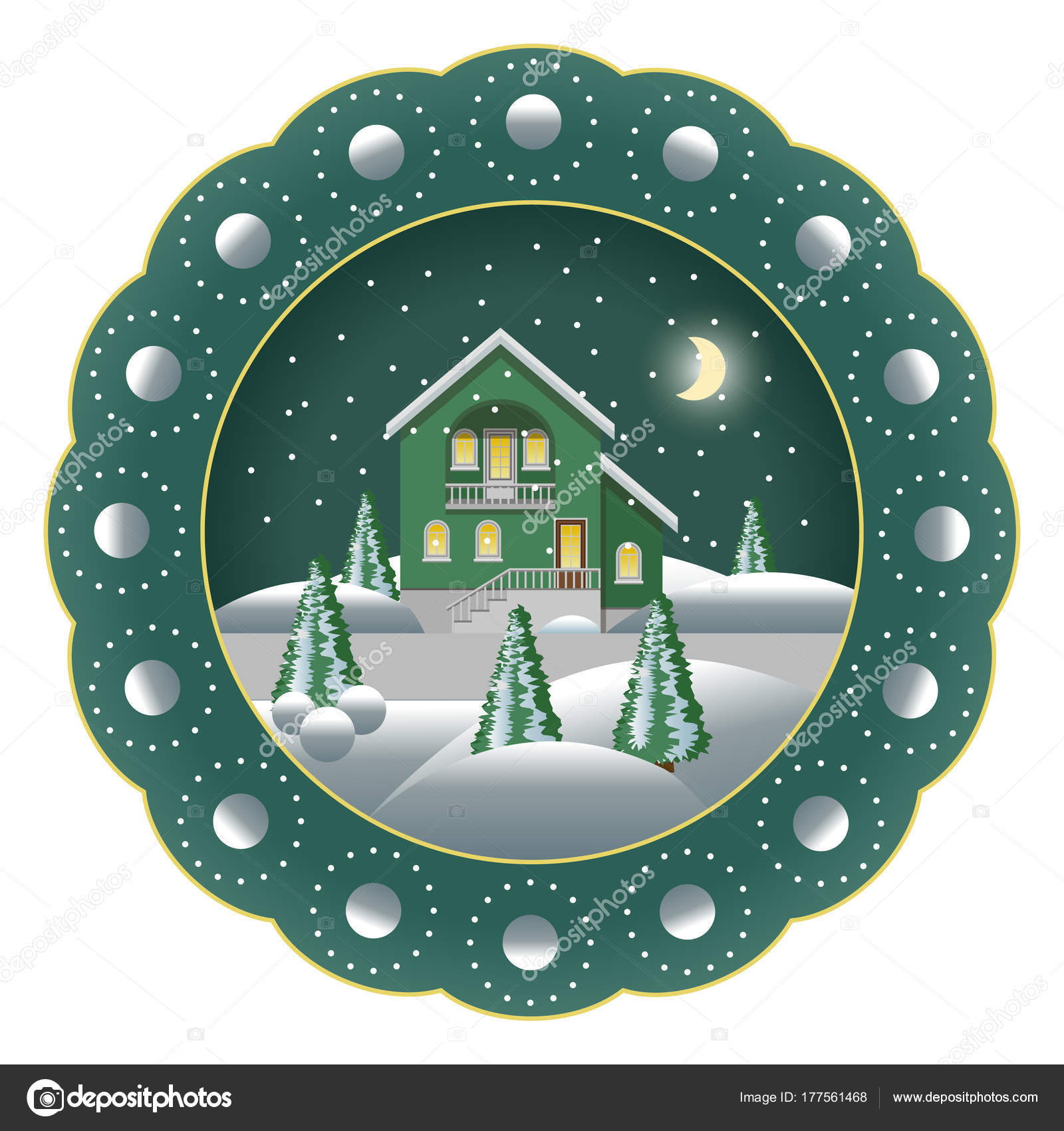 Decorative Christmas souvenir plate isolated. Porcelain plate painted with Christmas night winter landscape scene. Snow trees snowflakes house.  sc 1 st  Depositphotos & Decorative Christmas souvenir plate isolated. u2014 Stock Vector ...