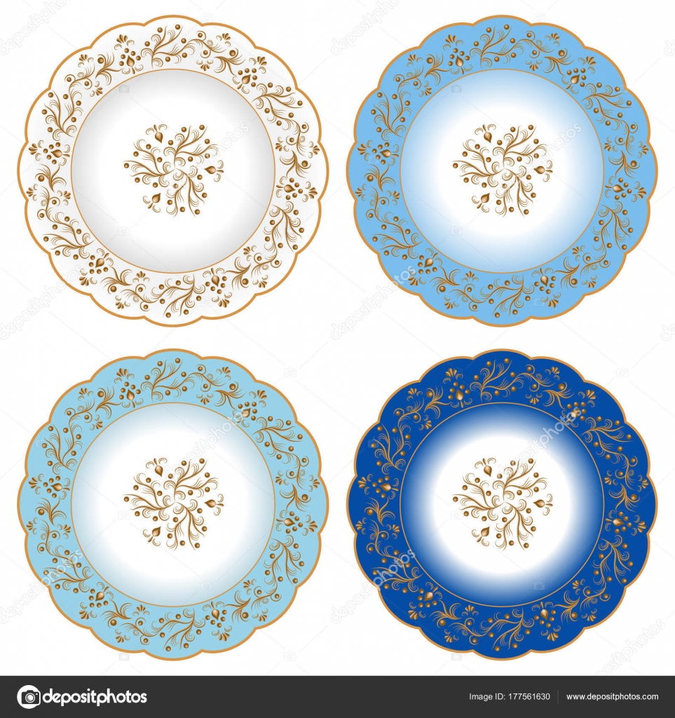 Set of decorative porcelain plates ornate with oriental golden v u2014 Stock Vector  sc 1 st  Depositphotos & Set of decorative porcelain plates ornate with oriental golden v ...