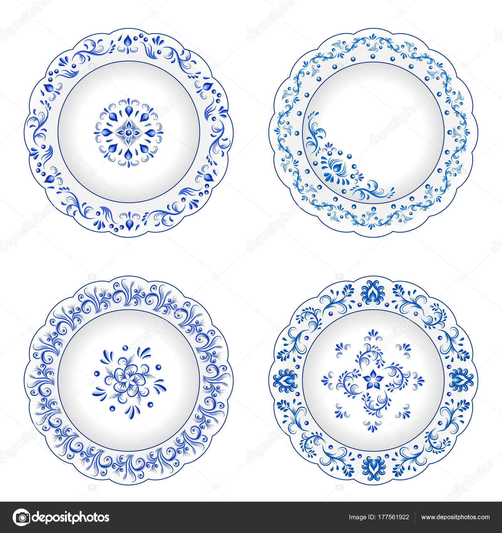 Set of decorative porcelain plates ornate with blue floral ornament pattern in traditional Russian style Gzhel with vintage elements.  sc 1 st  Depositphotos & Set of decorative porcelain plates ornate in traditional Russia ...