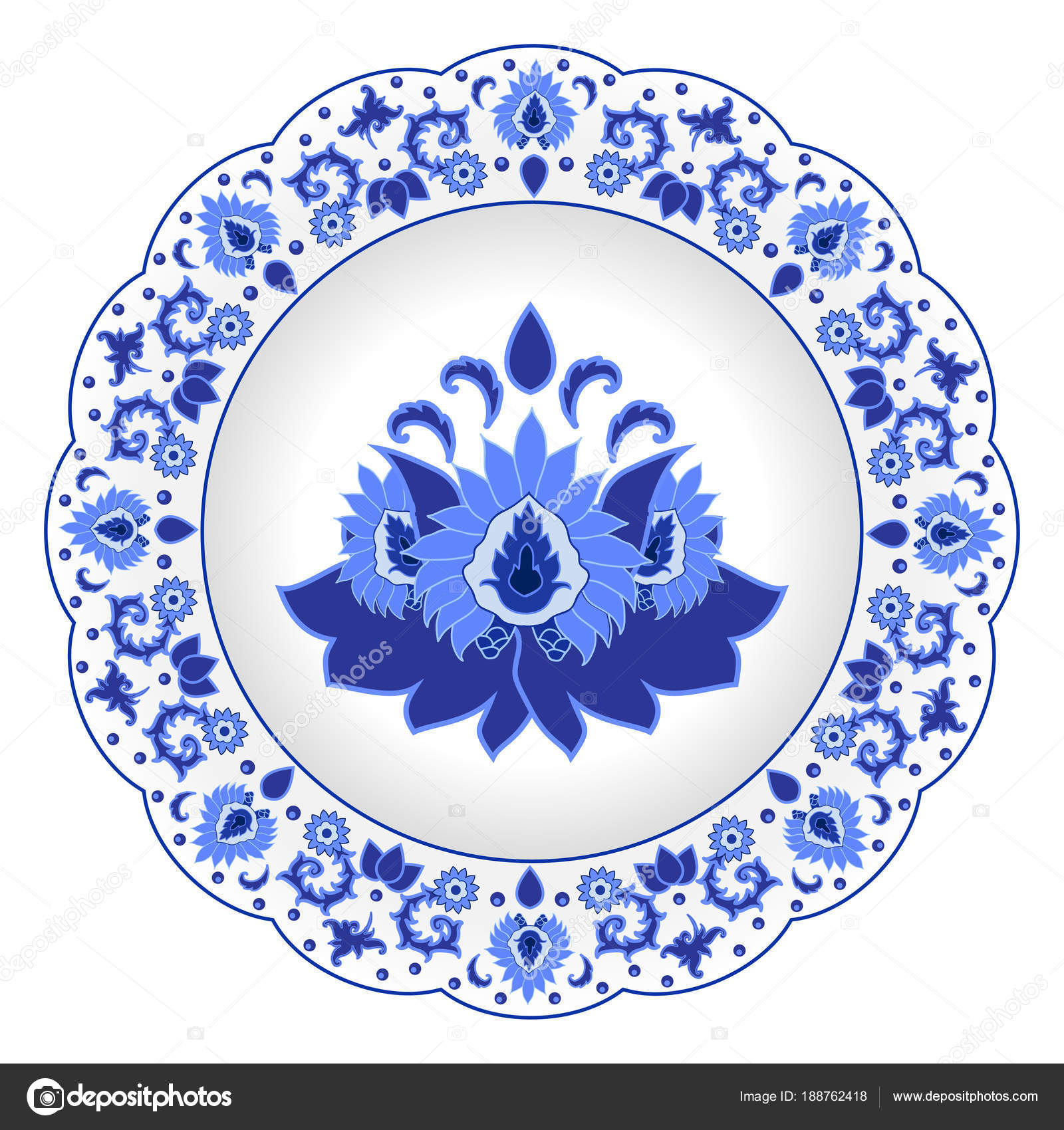 Decorative porcelain plate ornate in traditional Russian style Gzhel. Isolated white plate with blue floral pattern. Vector illustration u2014 Vector by ...  sc 1 st  Depositphotos & Decorative Porcelain Plate Ornate Traditional Russian Style Gzhel ...