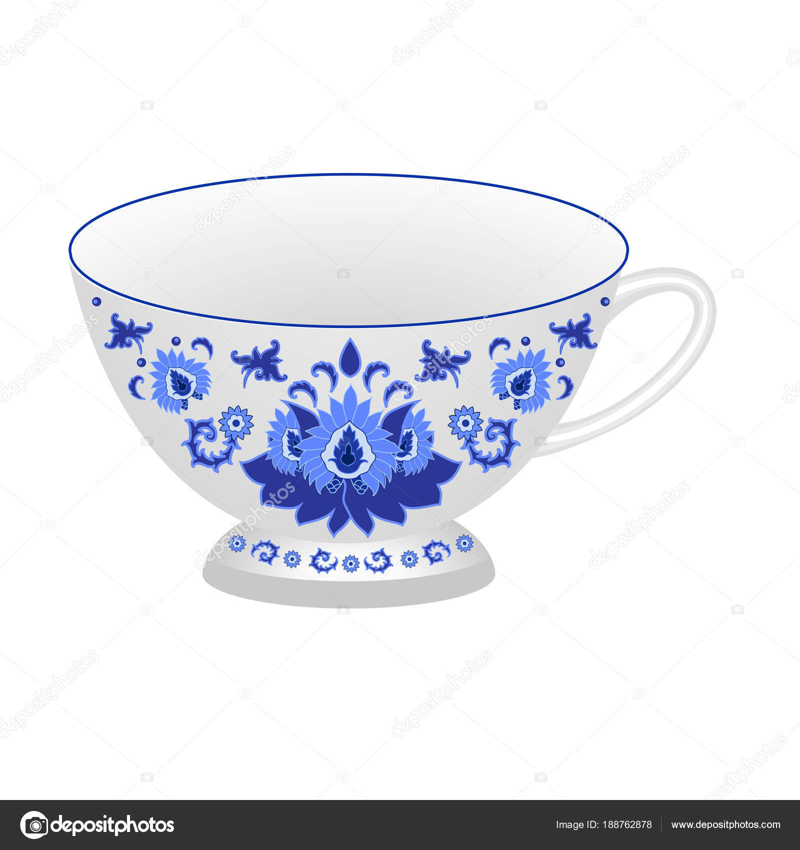 Decorative porcelain tea cup ornate in traditional Russian style Gzhel. Isolated white cup with blue floral ornament pattern.  sc 1 st  Depositphotos & Decorative Porcelain Tea Cup Ornate Traditional Russian Style Gzhel ...