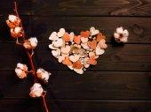 Papírové srdce a květy bavlny