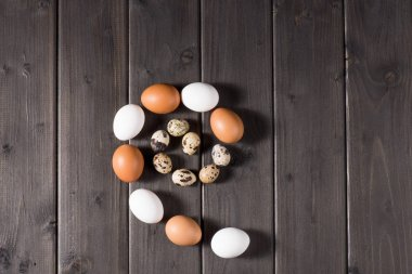 Top view of chicken and quail eggs on rustic wooden planks for Easter holiday stock vector