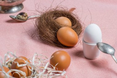 Chicken eggs and old cutlery