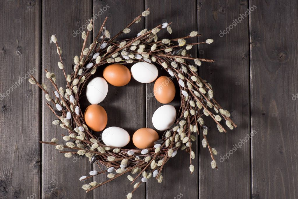 Eggs and catkins wreath