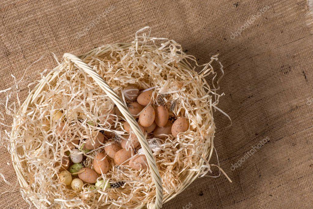 Quail eggs in basket