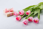 Fotografie pink tulips and gift