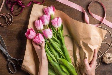 pink tulips in hands