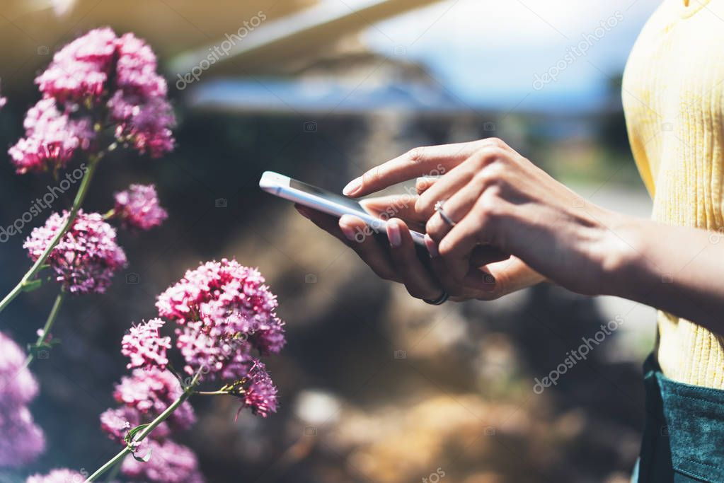 Hipster text message on smart phone or technology