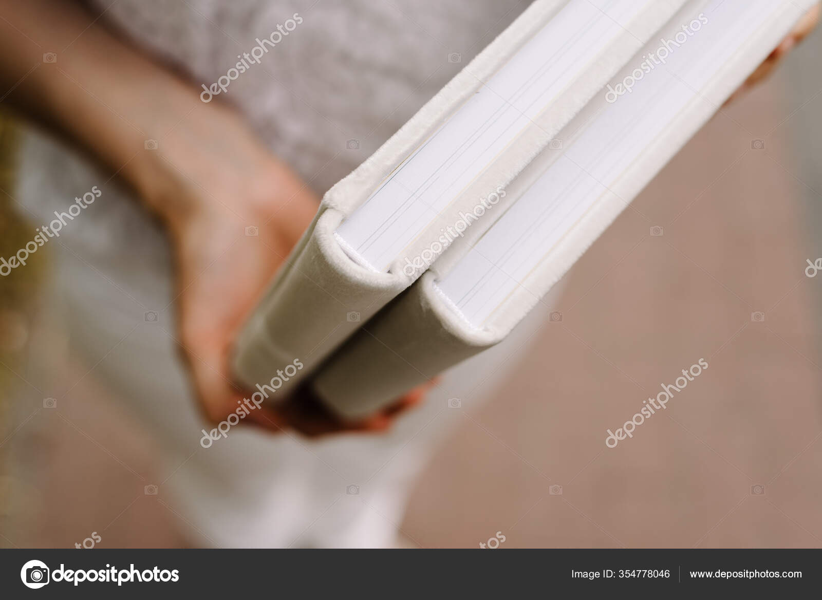 Two Albums Wedding Photography White Velvet Cover Thick Pages Shallow Stock Photo Image By C Ilyakvatyura 354778046