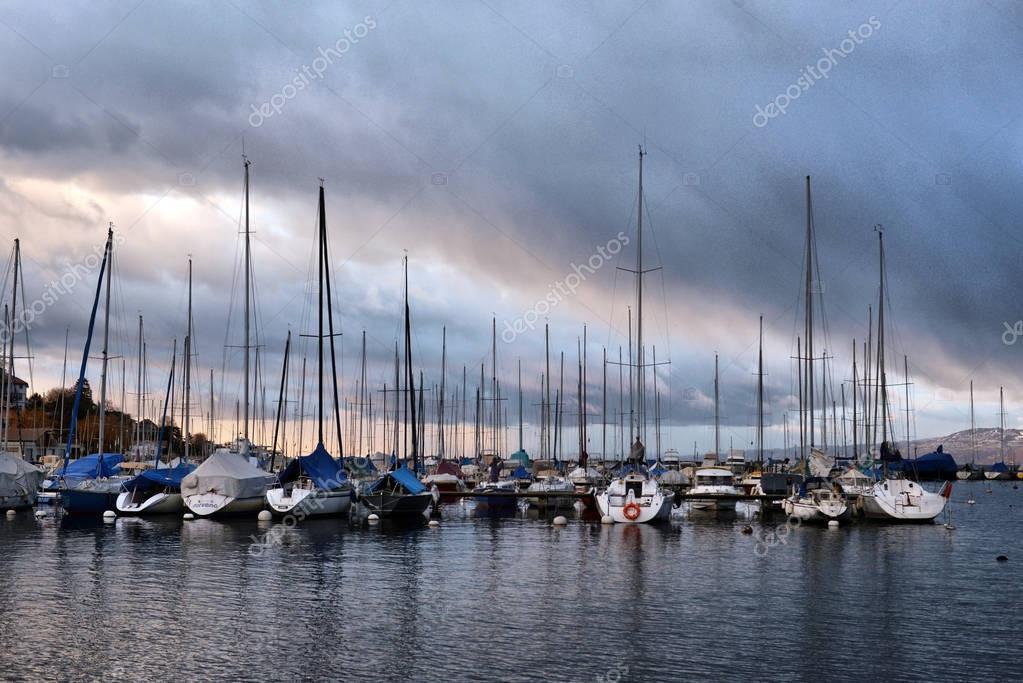 SWISS, LAKE GENEVA, 06, YANUARY, 2017,Yachts on winter parking l