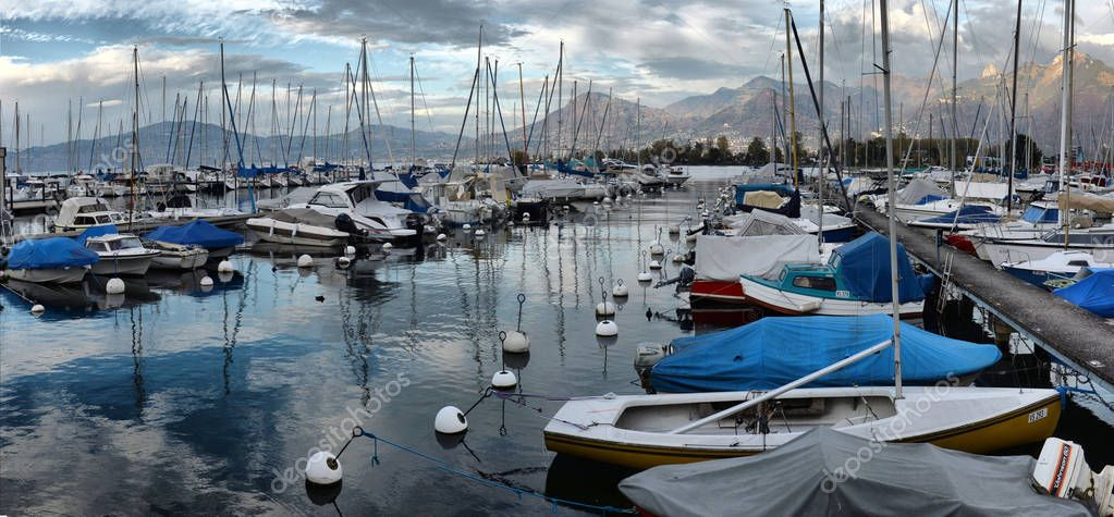 SWISS, LAKE GENEVA, 21, OCTOBER, 2017,Yachts on autumn parking l
