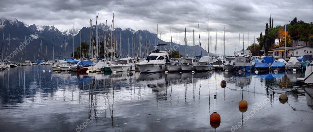 SWISS, LAKE GENEVA, 23, OCTOBER, 2017,Yachts on autumn parking l