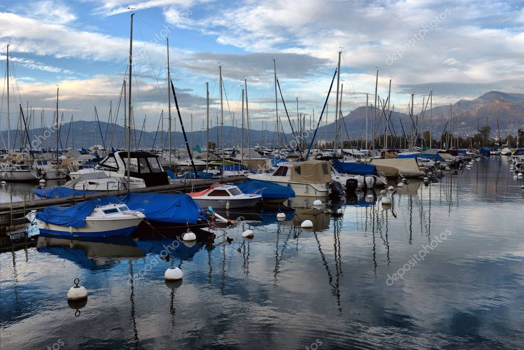 SWISS, LAKE GENEVA, 21, OCTOBER, 2017,Yachts on autumn parking l
