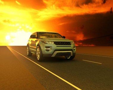 Blue Range rover against the sunset stock vector