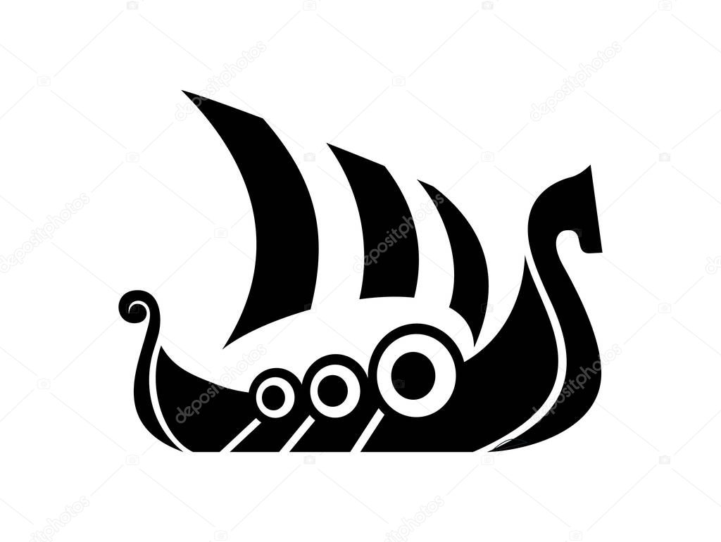 Drakkar Sign  Viking Transport Ship  U2014 Stock Vector