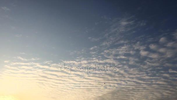 Bílé mraky zmizí v horkém slunci na modré obloze. Time-Lapse pohybu mraky modré obloze na pozadí. Modrá obloha. Mraky. Modrá obloha s bílé mraky a slunce