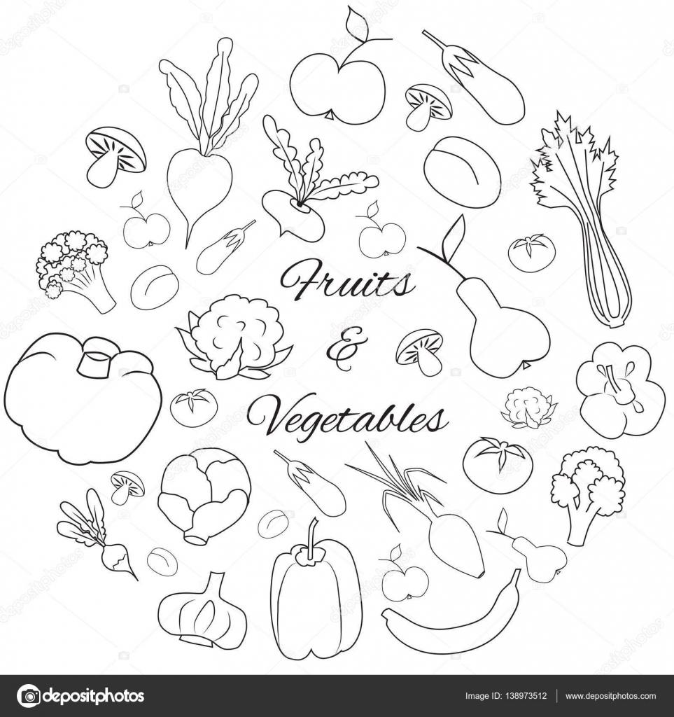 手描き丸ベクトル セットの果物と野菜 ストックベクター