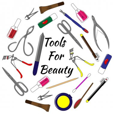 Set of tools for manicure. Colorful vector illustration tools for beauty