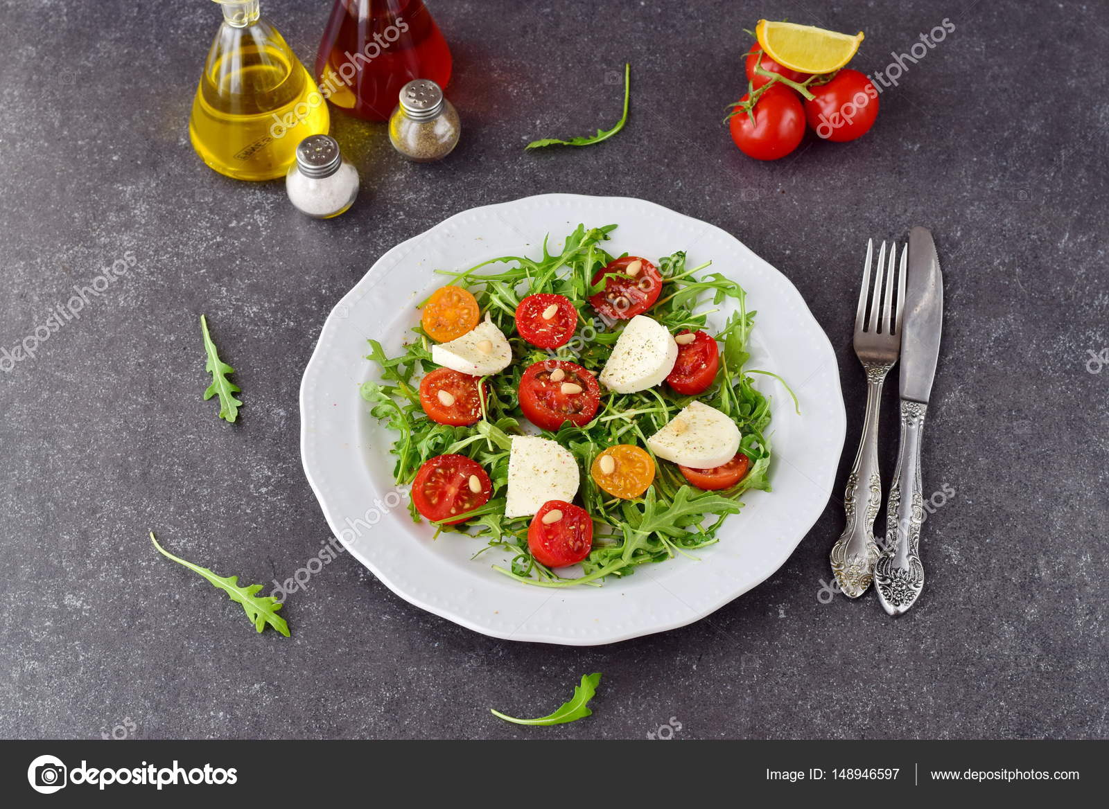 Traditional Italian Salad With Cherry Tomato Ruccola Mozzarella