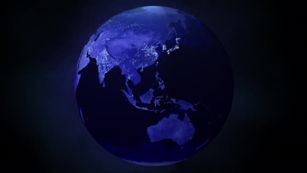 Kalter Dunkler Planet Erde erwacht in der Nacht langsam zum Leben und erleuchtet mit Stadtlichtern.