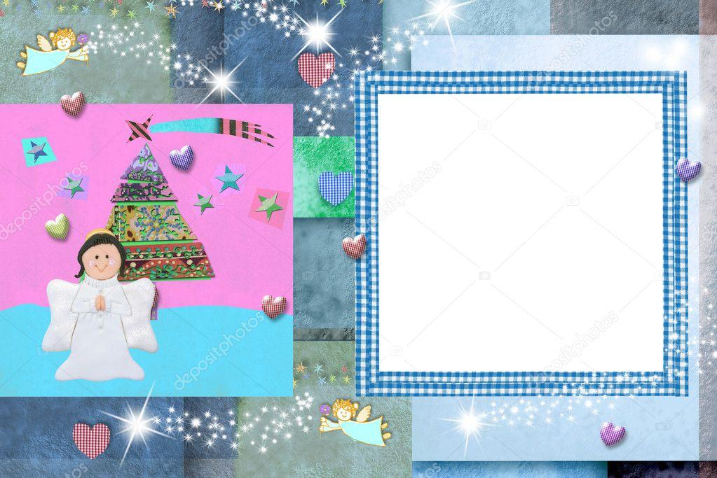 Tarjeta de Navidad foto marco para bebés y niños — Foto de stock ...