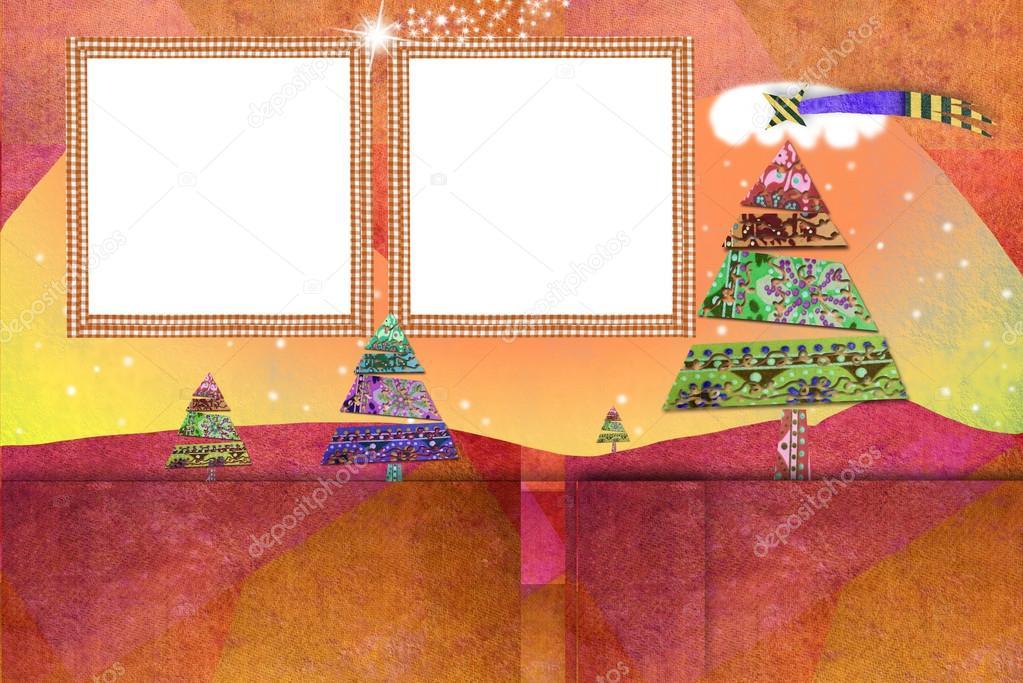 Weihnachten zwei Bilderrahmen Karten — Stockfoto © Risia #127746874