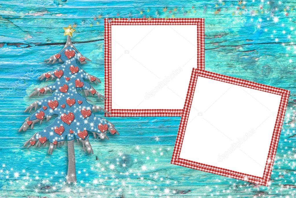 Weihnachtsbaum-Foto-Rahmen-Karten — Stockfoto © Risia #127749252