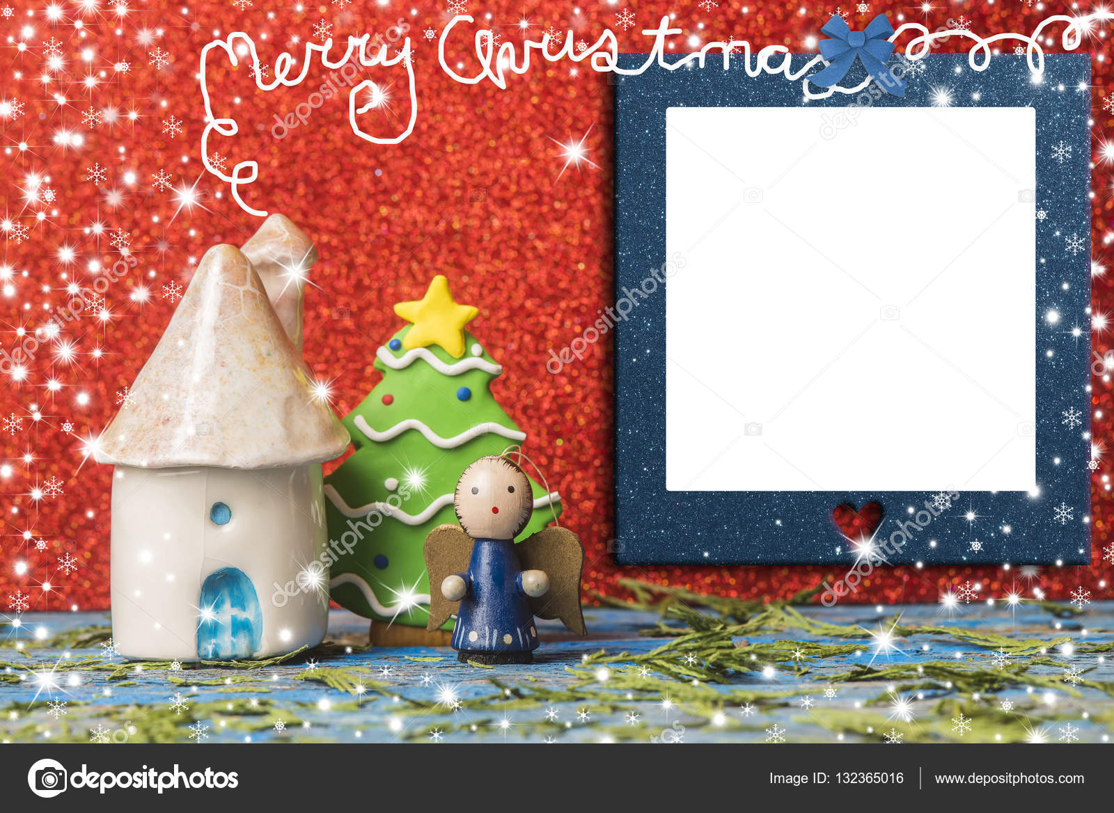 Christmas cards, empty photo frame. — Stock Photo © Risia #132365016