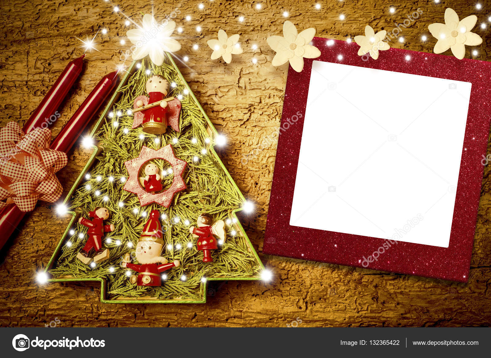 Christmas photo frame cards, cute tree. — Stock Photo © Risia #132365422